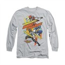 Power Rangers Shirt Swords Out Long Sleeve Silver Tee T-Shirt