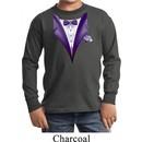Purple Tuxedo Kids Long Sleeve Shirt