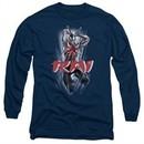 Rai Valiant Comics Long Sleeve Shirt Leap And Slice Navy Tee T-Shirt