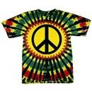 Rasta Tie Dye Shirt Mens Peace Tie Dye T-shirt