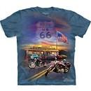 Route 66 Shirt Tie Dye American Flag Motorcycle T-shirt Adult Tee