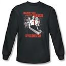 Shaun Of The Dead T-shirt Bash Em Adult Charcoal Long Sleeve Tee Shirt