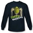 Shrek Shirt Happens Long Sleeve Navy Blue Tee T-Shirt