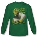 Shrek Shirt Looking Good Long Sleeve Kelly Green Tee T-Shirt