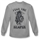 Sons Of Anarchy SOA Shirt Fear The Reaper Long Sleeve Grey Tee T-Shirt