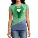 St Patricks Day Ladies Shirt Irish Tuxedo Tri Blend Crewneck Tee