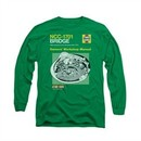 Star Trek Shirt Bridge Manual Long Sleeve Kelly Green Tee T-Shirt