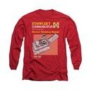 Star Trek Shirt Communicator Manual Long Sleeve Red Tee T-Shirt