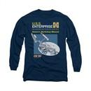 Star Trek Shirt Enterprise Manual Long Sleeve Navy Tee T-Shirt