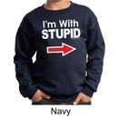 Stupid Sweatshirt I?m With Stupid White Print Kids Sweatshirt