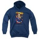 Supergirl Kids Hoodie Standing Symbol Navy Blue Youth Hoody
