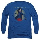 Supergirl Long Sleeve Shirt Classic Hero Royal Blue Tee T-Shirt