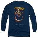 Supergirl Long Sleeve Shirt Standing Symbol Navy Blue Tee T-Shirt