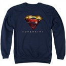 Supergirl Sweatshirt Logo Glare Adult Navy Blue Sweat Shirt
