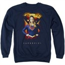 Supergirl Sweatshirt Standing Symbol Adult Navy Blue Sweat Shirt
