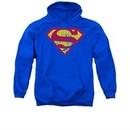 Superman Hoodie Classic Logo Distressed Royal Blue Sweatshirt Hoody