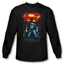 Superman Long Sleeve T-shirt DC Comics Dark Alley Logo Black Tee Shirt