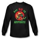 Superman Long Sleeve Shirt DC Comics Say No To Kryptonite Black Shirt