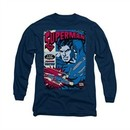 Superman Shirt Action Packed Long Sleeve Navy Tee T-Shirt