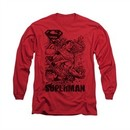 Superman Shirt Breaking Chains Long Sleeve Red Tee T-Shirt