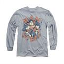 Superman Shirt Coming Through Long Sleeve Athletic Heather Tee T-Shirt