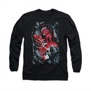 Superman Shirt Heat Vision Long Sleeve Black Tee T-Shirt