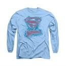 Superman Shirt Sketchy Long Sleeve Carolina Blue Tee T-Shirt