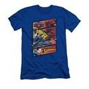 Superman Shirt Slim Fit Comic Strip Royal Blue T-Shirt