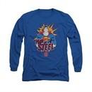 Superman Shirt Steel Pop Long Sleeve Royal Blue Tee T-Shirt