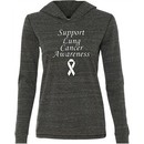 Support Lung Cancer Awareness Ladies Tri Blend Hoodie