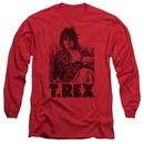 T.Rex Shirt Lounging Long Sleeve Red Tee T-Shirt
