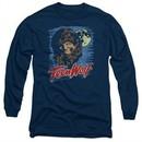 Teen Wolf Long Sleeve Shirt Moon Wolf Navy Tee T-Shirt