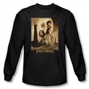 Lord Of The Rings T-Shirt Towers Movie Poster Black  Long Sleeve Tee