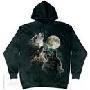 Three Wolves Howling Hoodie Tie Dye Adult Hooded Sweat Shirt Hoody