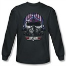 Top Gun Shirt Maverick Helmet Long Sleeve Charcoal Tee T-Shirt