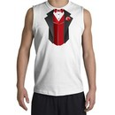 Tuxedo T-Shirt Shooter With Red Vest- White
