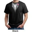 Tuxedo Organic T-shirt with Pink Flower Adult Tee Shirt