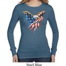 USA Eagle Flag Ladies Long Sleeve Thermal Shirt