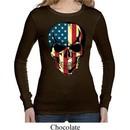 USA Skull Ladies Long Sleeve Thermal Shirt