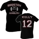 USFL Houston Gamblers T-shirt Jim Kelly Adult Black Tee Shirt
