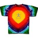 Mens Yoga T-shirt ? Warrior 2 Pose Tie Dye Rainbow Teardrop Tee Shirt