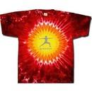 Mens Yoga T-shirt ? Warrior 2 Pose Tie Dye Red Hot Sun Tee Shirt