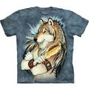 Wolf Shirt Tie Dye Wolves Golden Feather T-shirt Adult Tee