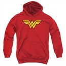 Wonder Woman Kids Hoodie Logo Red Youth Hoody