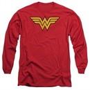 Wonder Woman Long Sleeve Shirt Logo Red Tee T-Shirt