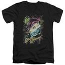 Wonder Woman Slim Fit V-Neck Shirt Color Block Black T-Shirt