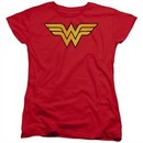 Wonder Woman Womens Shirt Logo Red T-Shirt
