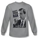 X-Files Shirt Smoking Man Long Sleeve Silver Tee T-Shirt