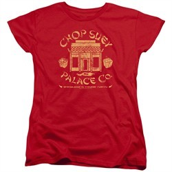A Christmas Story Womens Shirt Chop Suey Palace Co Red T-Shirt