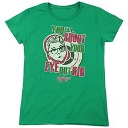 A Christmas Story Womens Shirt You'll Shoot Your Eye Out Green T-Shirt